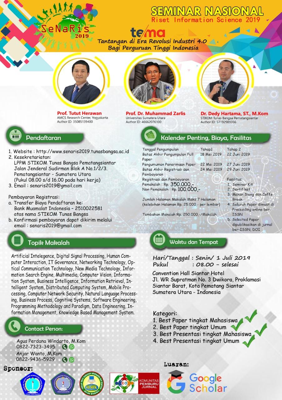 Seminar Nasional Riset Dan Information Science Senaris 2019